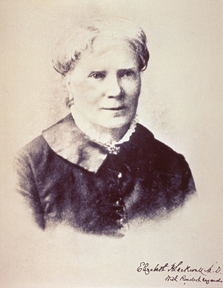Formal bust photographic portrait of Elizabeth Blackwell.