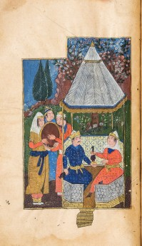 Hand-painted illustration depicting people seated in a gazebo eating while others holding a tray look on.