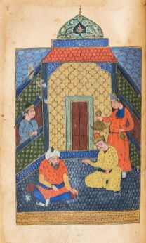 Hand-painted illustration depicting people seated inside talking while others look on.