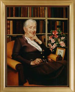 An artists portait of Helen Coley Nauts seated in front of a bookshelf with a photo of her father beside her.