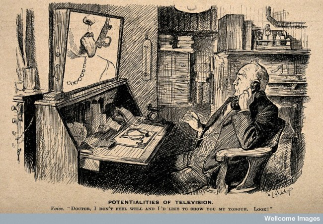 Illustration of a doctor on the telephone (which is linked up to a television).