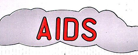 A raincloud labeled AIDS.