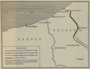 A map showing the border of France and Belgium and the French and Belgian fronts in 1917.