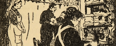 Woodcut of a woman sowing on a machine in a room full of folded cloth, a nurse stands by while men discuss a parcel.