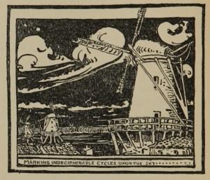 Woodcut of a field of windmills against a dark sky.