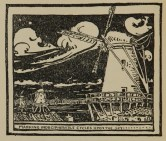 Woodcut of a field of windmills against a dark sky.