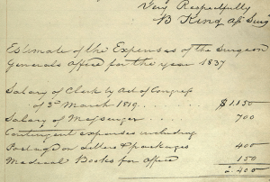 Detail from a handwritten document including a signature and list of expenses.