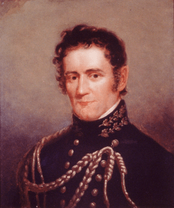 A painted portrait of a young man in military uniform.