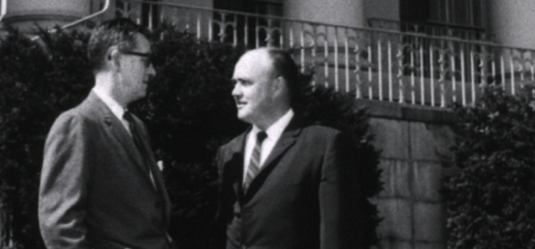 Congressman Laird pauses to chat with Dr. James A. Shannon, Director of the National Institutes of Health, in front of the NIH Administration Building.