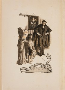 A young man in a dark suit and cape speaks to a girl and a boy with a sword in a living room.