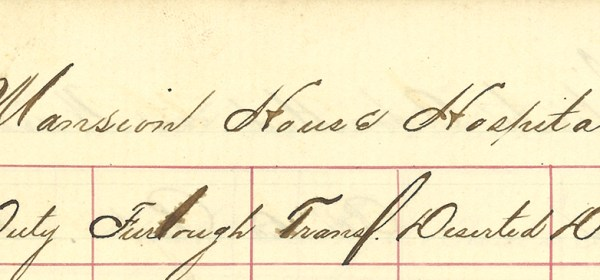Enlarged view of patient record page with Mansion House Hospital heading.