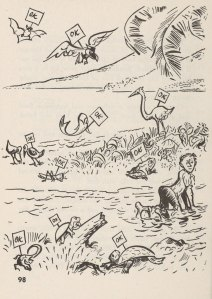 """What to eat when shipwrecked - a cartoon of animals labeled """"OK"""""""