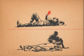 Illustrations of a bleeding soldier and a soldier caring for a wounded man.
