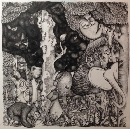 An ink drawing of animals in a gorest.