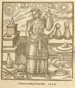 Woodcut illustrating a woman surrounded by chemical aparatus labeled Alchyma.