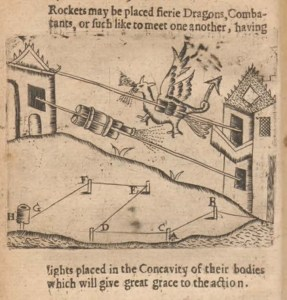 A rough woodcut engraving showing rockets, one of them dragon shaped moving along lines strung between houses.