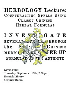 A poster advertising a lecture event at Herrick Library.