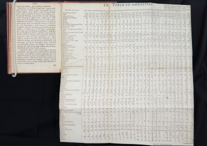 A leather bound book with a very large fold out chart of statistics titled Table of Casualties.