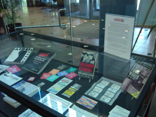 Books and ephemera display for AIDS35 at UConn