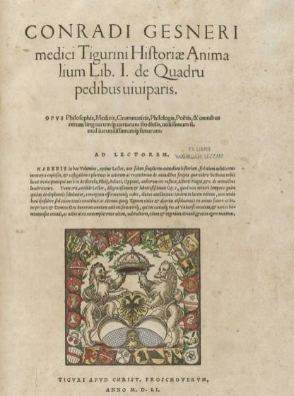 A title page in Latin with a colorful crest featuring many decorated shields and two rearing lions.