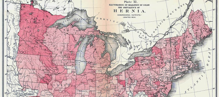 Detail of a map of the Northeasern United States of America, illustrating by gradation of color the prevalence of hernia.