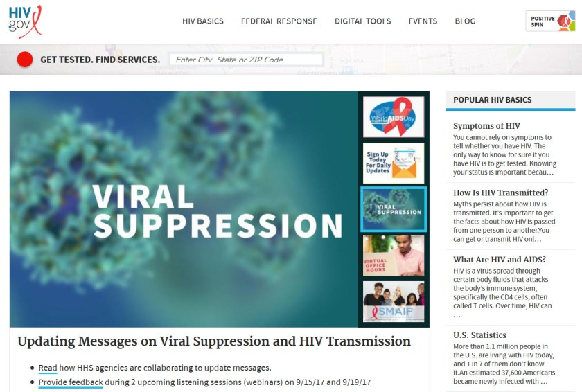 Screenshot of https://www.hiv.gov/, a website of the U.S. Department of Health and Human Services HIV.gov that provides access to U.S. Government HIV/AIDS information.