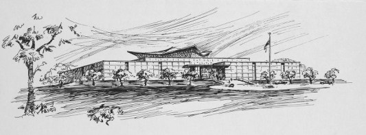 Architectural style drawing of the NLM building.