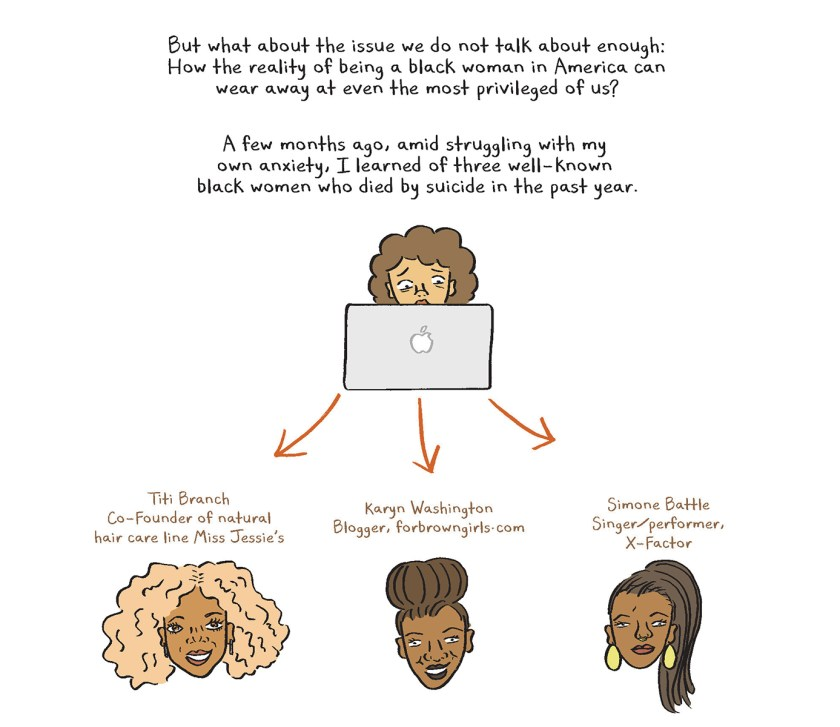 An illustrated text describing a black woman reading online about three other black women who died by suicide.
