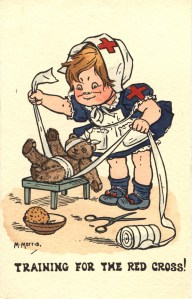 Postcard featuring a color illustration of a young girl bandaging a teddy bear.