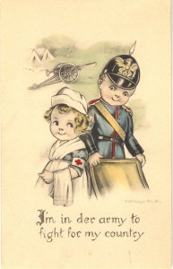 Postcard featuring a color illustration of a young girl dressed as a nurse and a young boy dressed as a soldier.
