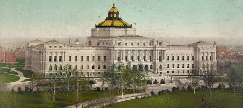 Detail of A photomechanical print of the Library of Congress building mounted on black paper.