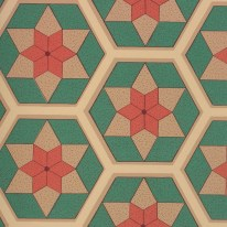 A mosaic patterns with stars and hexagons in red, brown and green.