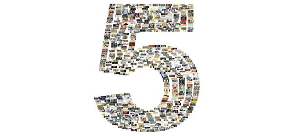 A collage of collection images in the shape of the number 5.