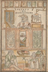 A man sits at a high desk with books, people wait on the floor before him.