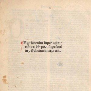 A few printed lines with a red initial capital on an otherwise blank but time worn page.
