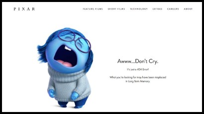 "The Pixar 404 page says ""Aww...Don't Cry"" illustrated by Sadness from the film Inside Out."