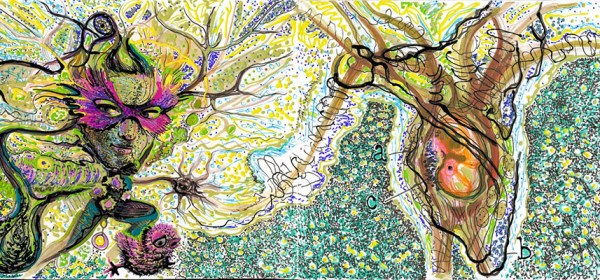 """Dawn Hunter, Anthropormorphic Neurons, handmade sketchbook, ink, pen and acrylic on paper, 5"""" x 13"""", 2015"""
