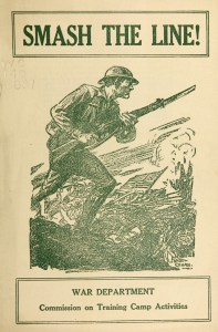 The cover of a pamphlet illustrated with a soldier with a rifle running on a battlefield.