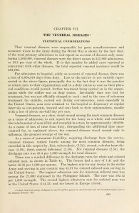 A printed page headed The Venereal Diseases Statistical Considerations.