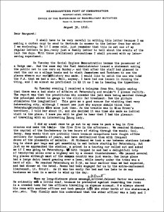 A typed letter on letterhead from the Headquarters Port of Embarkation Newport News, Virginia.