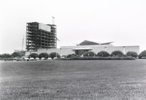 The National Library of Medicine building with the high rise Lister Hill Center under construction behind it.