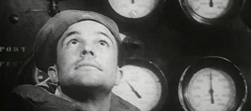 Gene Kelley as a seaman in the engine room of a ship in Combat Fatigue Irritability.