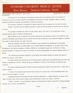 A press release dated 5/20/74 from Stanford University Medical Center.