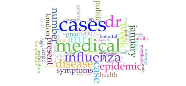 A word cloud that represents relative frequency of words in articles about influenza, with medical, cases, Dr, Mr, January, epidemic, number, public and symptoms included.