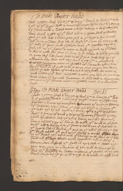 A page from a handwritten book of recipes including two for ginger bread.