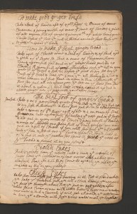 A page from a handwritten book of recipes including ginger bread, violett cakes and cheese cakes.