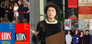 Image of Dr. Fee surrounded by a collage of her selected publications and images from the NLM historical collections.