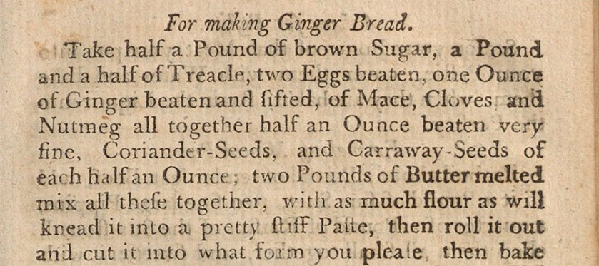 A detail from a gingerbread cecipie from the 18th century.