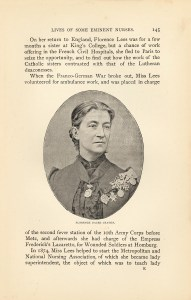 A photograph of Florence Dacre Craven with many medals of honor.