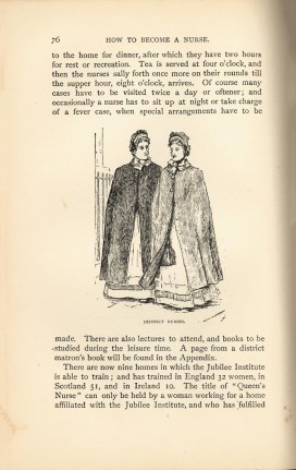 Drawn illustration of Nurses in cloaks walking down a street.